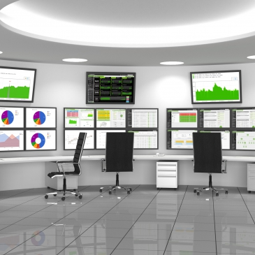 Security Operations Center containing computers desks
